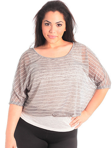 Plus Size Boyfriend Layered Stripe Grey Top