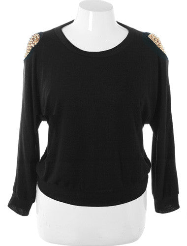 Plus Size Gold Spiked Shoulders Black Sweater
