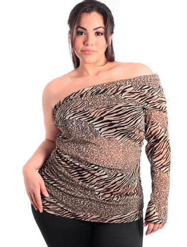 Plus Size Sexy Exotic One Sleeve Leopard Top