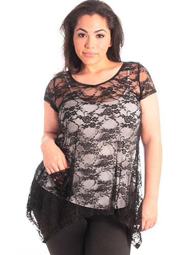 Plus Size See Through Lace Black Tunic