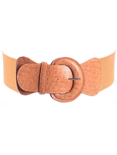 Plus Size Sexy Buckle Stretchy Tan Belt