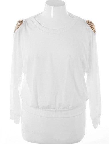Plus Size Gold Spiked Shoulders White Sweater