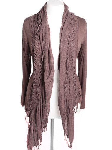 Plus Size Designer Open Draped Taupe Cardigan