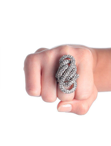 Plus Size Sexy Rhinestone Silver Stretchy Ring