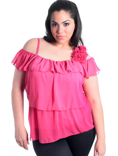 Plus Size Layered Floral Strap Pink Top