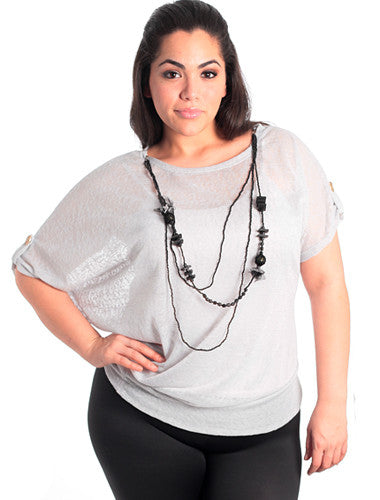 Plus Size Sassy See Through Grey Blouse