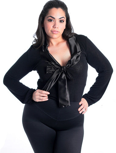 Plus Size Bowtie Button Up Black Long Sleeve