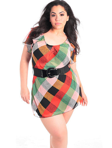 Plus Size Ruffled Belted Multi Color Dress