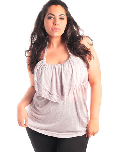 Plus Size Layered Grey Spring Halter