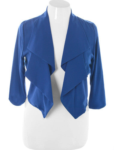 Plus Size Designer Front Draped Blue Blazer