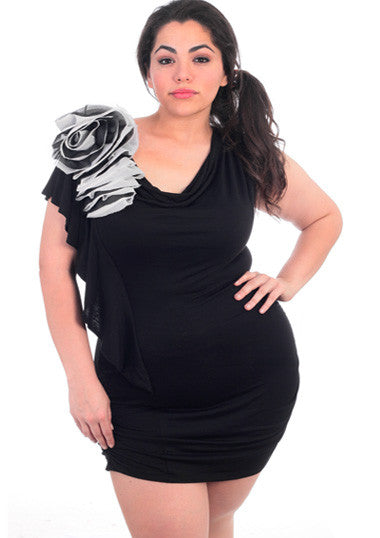 Plus Size Cocktail Flower Black Mini Dress