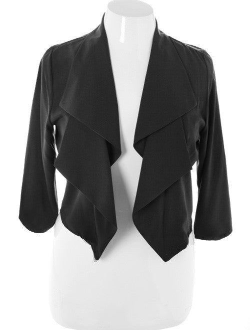 Plus Size Designer Front Draped Black Blazer