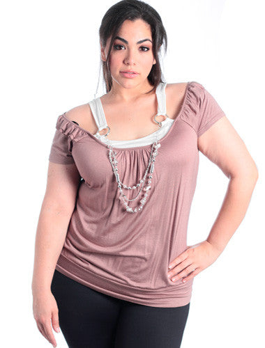 Plus Size Two Tone Layered Tan Blouse