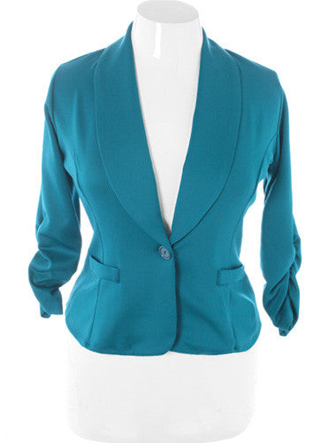 Plus Size Shawl Collar Scrunch Sleeve Teal Blazer