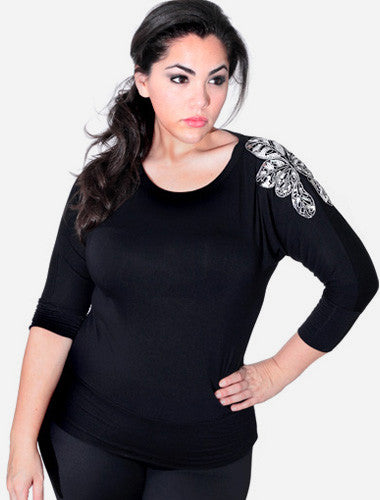 Plus Size Sexy Flower Shoulder Long Sleeve Black Top