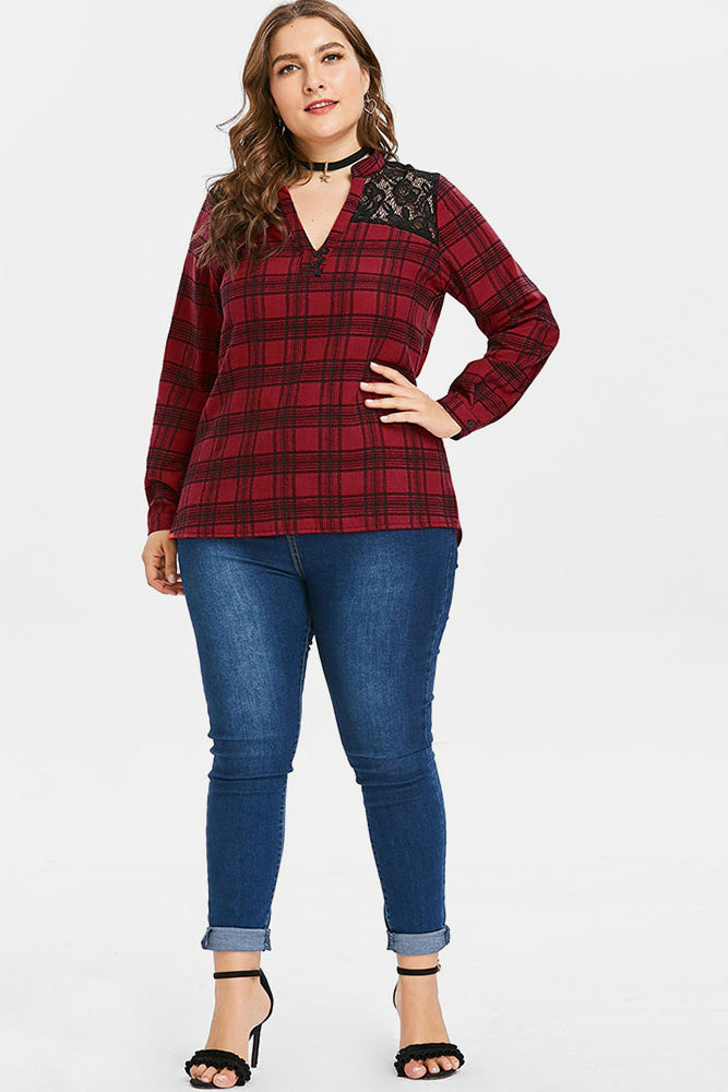 Plus Size Casual Lace Checker V Neck Blouse Top