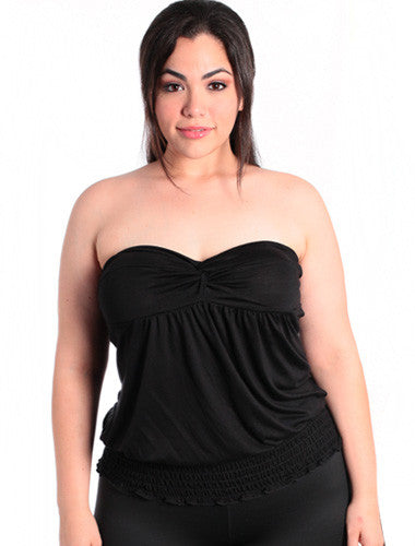 Plus Size Knoted Black Tube Top