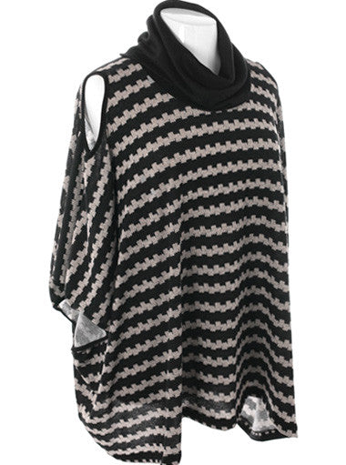 Plus Size Open Shoulder Knit Turtle Neck Poncho