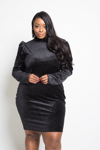 Plus Size Sparkling Velvet Long Sleeved Dress
