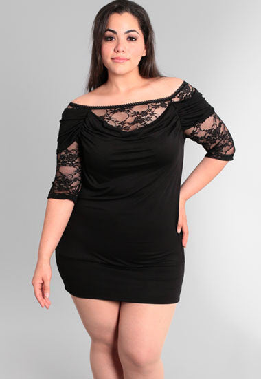 Plus Size See Through Lace Sleeves Black Cocktail Dress