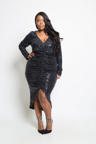 Plus Size Sparkling Ruched Midi Dress