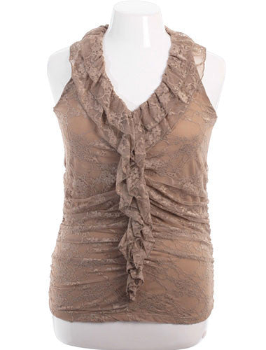 Plus Size Adorable Ruffled Lace Tan Tank