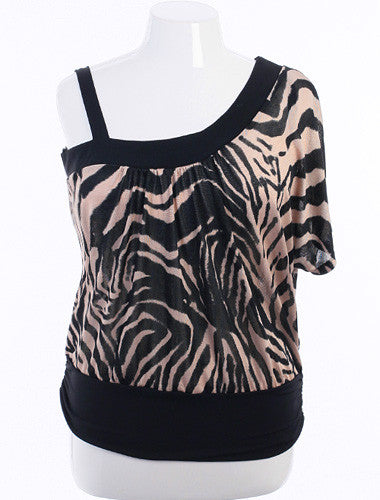 Plus Size Open Shoulder Zebra Print Tan Top
