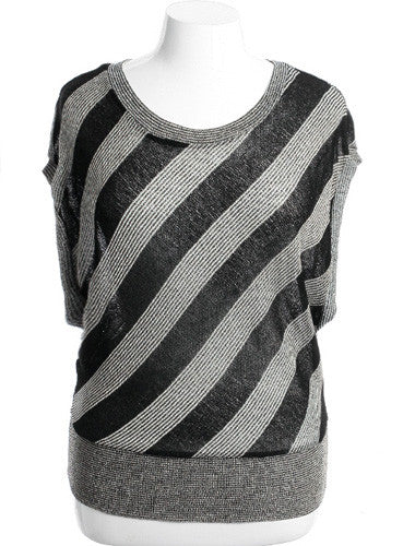 Plus Size Contemporary Striped Black Blouse
