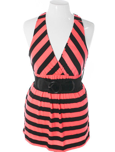Plus Size Sexy Striped Hot Pink Tank