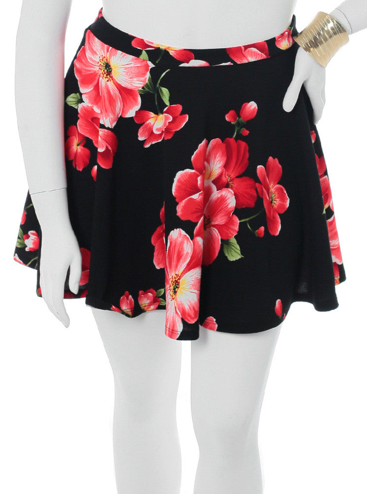 Plus Size Floral Secret Black Skirt