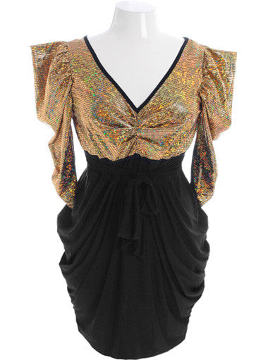 Plus Size Bold Shoulder Dazzling Holiday Gold Dress