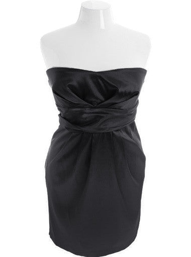 Plus Size Sexy Satin Pleat  Black Cocktail Dress
