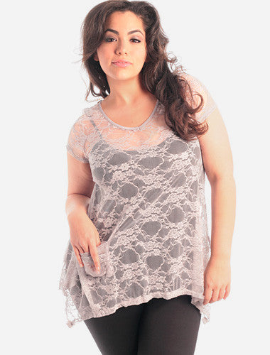 Plus Size See Through Lace Grey Tunic