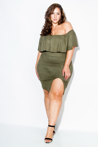 Plus Size Suede Ruffled Off Shoulder Dress
