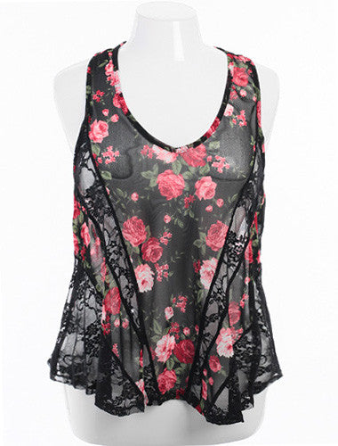 Plus Size Rose And Lace See Through Tank