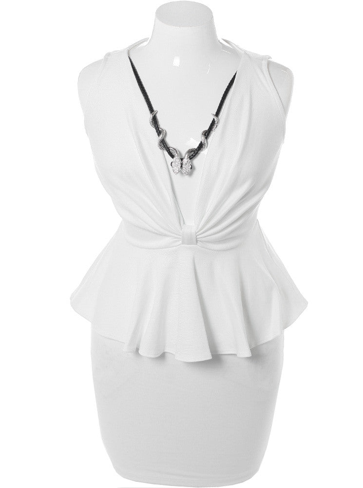 Plus Size Fierce Necklace Peplum White Dress
