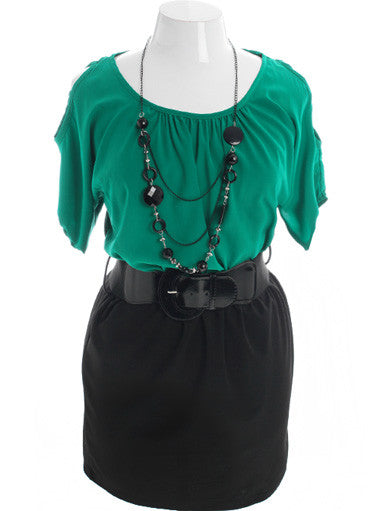 Plus Size Adorable Open Shoulder Necklace Green Dress