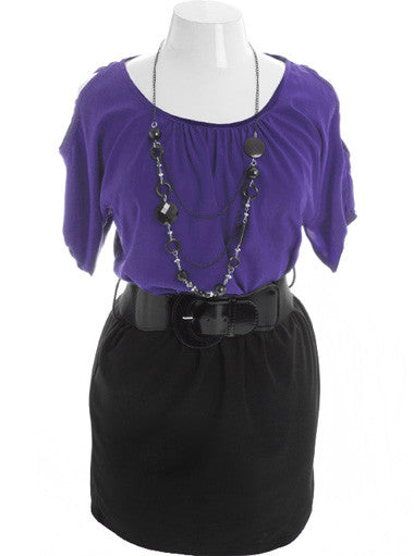 Plus Size Adorable Open Shoulder Necklace Purple Dress