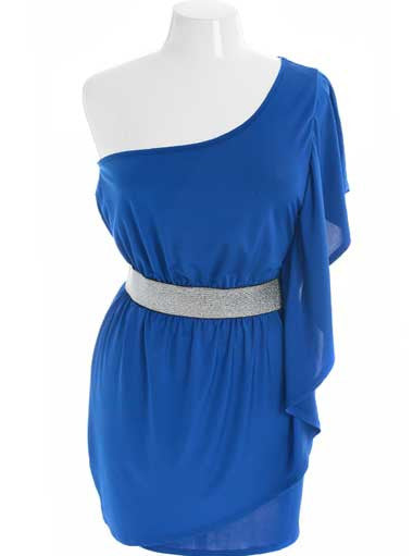 Plus Size Designer One Shoulder Draped Blue Dress