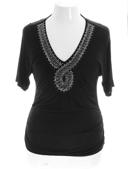 Plus Size Beaded V-Neck Black Top