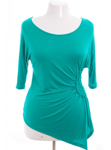 Plus Size Sexy Half Sleeve Teal Top