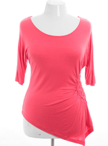 Plus Size Sexy Half Sleeve Pink Top