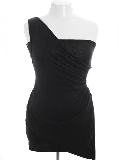 Plus Size Designer One Shoulder Jewelry Black Dress