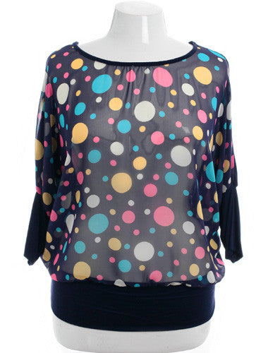 Plus Size Adorable See Through Bubble Gum Navy Top
