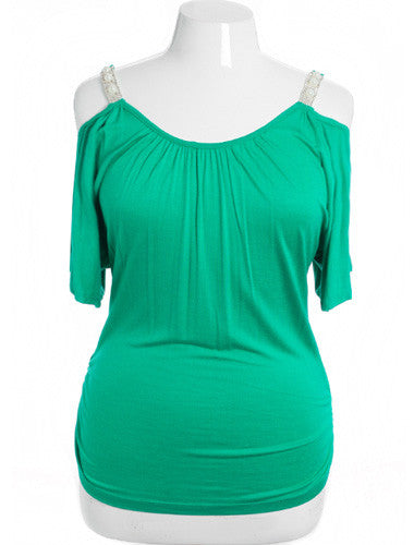 Plus Size Open Shoulder Diamond Straps Green Top