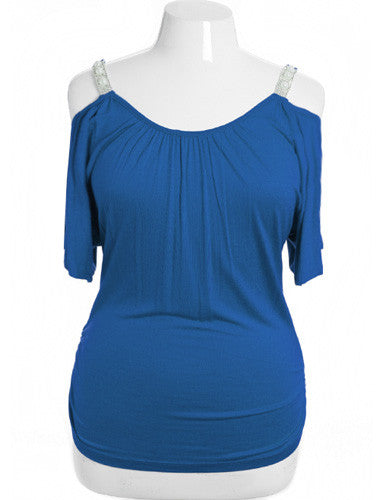 Plus Size Open Shoulder Diamond Straps Blue Top