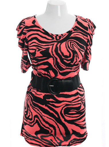 Plus Size Sexy Animal Print Belted Pink Dress