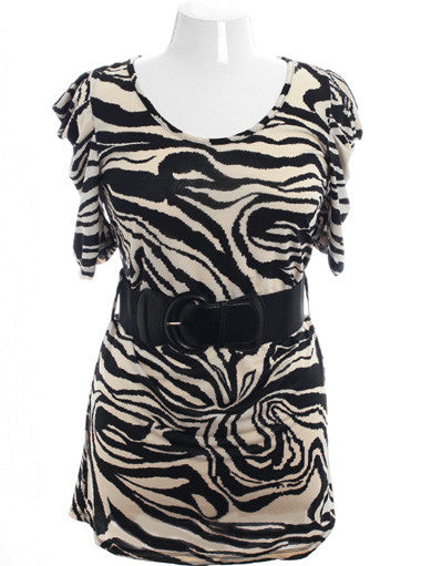 Plus Size Sexy Animal Print Belted  Off White Dress