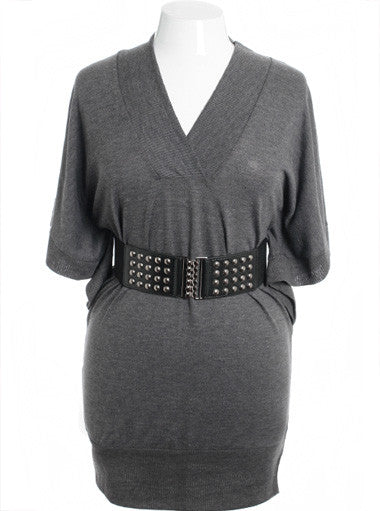 Plus Size Beautiful Sexy Kimono Knit Grey Dress