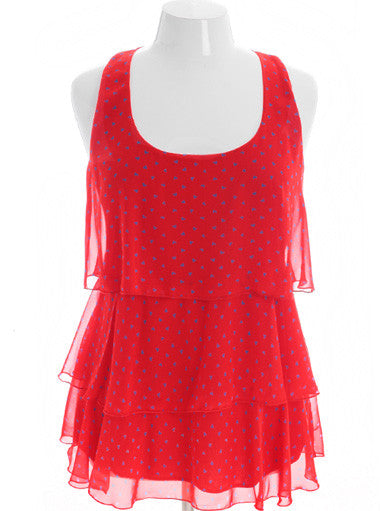 Plus Size Adorable Lace Heart Red Top